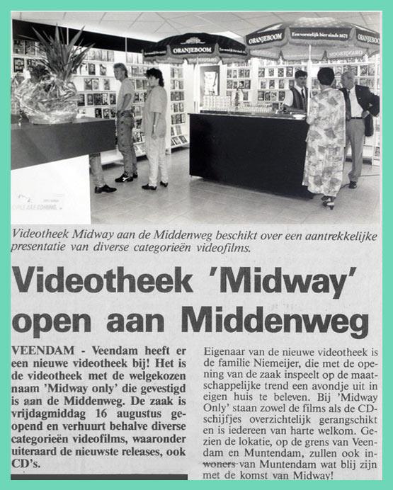 Videotheek Midway opening 16 augustus 1991
